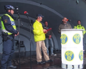 Från vänster: Tomas Eriksson, Polisen, Ove Sandert, GävleMHF Per Hansson, Ambulansen, Bror Johansson, Röda Korset & Robert Stridh, Räddningstjänsten.